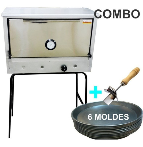 horno pizzero 6 moldes frente acero inox + moldes + gancho