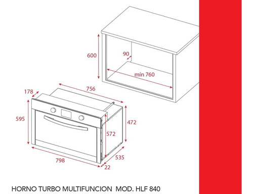 horno teka electrico hlf840 inox turbo multifuncion 80cm