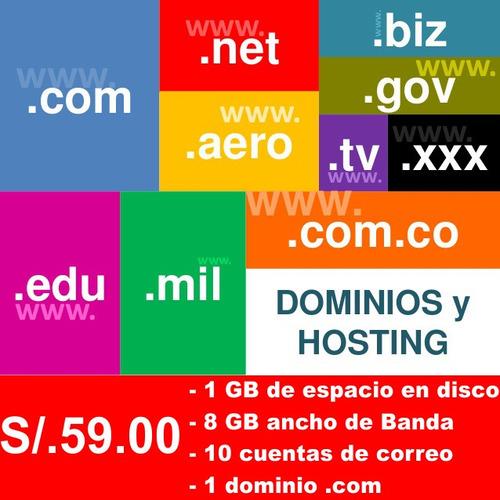 hosting + dominio 1gb hdd 8gb transferencia