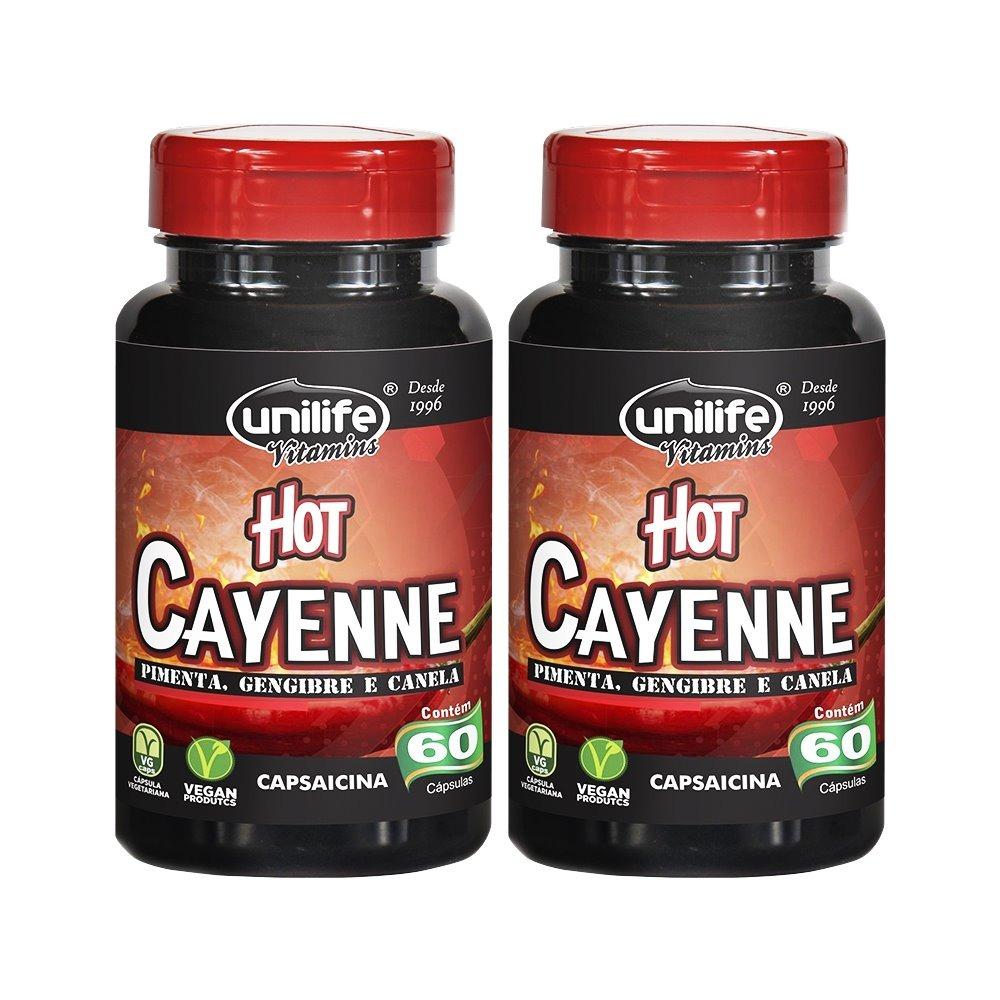 Hot Cayenne Pimenta Caiena Canela Gengibre 60 Cápsulas Unilife Kit 2 Unidades