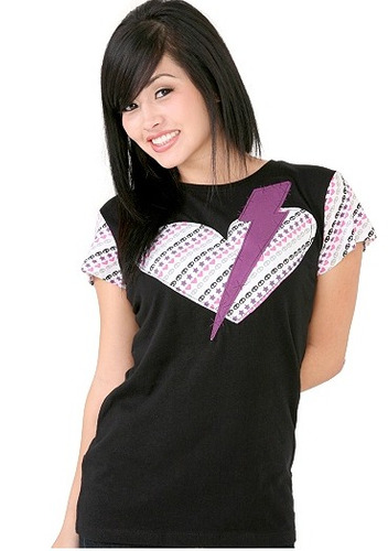 hot topic blusa skelanimals lightning heart tee m