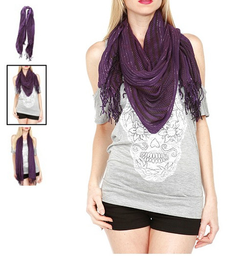 hot topic bufanda morada purple lightweight lurex scarf