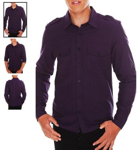 hot topic camisa morada social collision purple chambray m