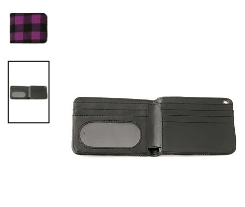 hot topic cartera purple and black buffalo check wallet