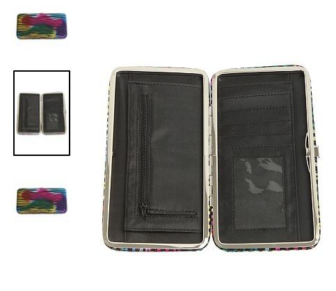 hot topic cartera rainbow fade zebra glitter hinge wallet