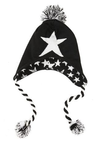 hot topic gorro black and white star peruvian beanie