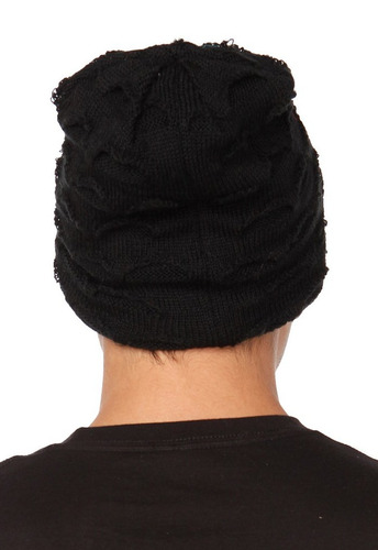 hot topic gorro black shredded slouch beanie