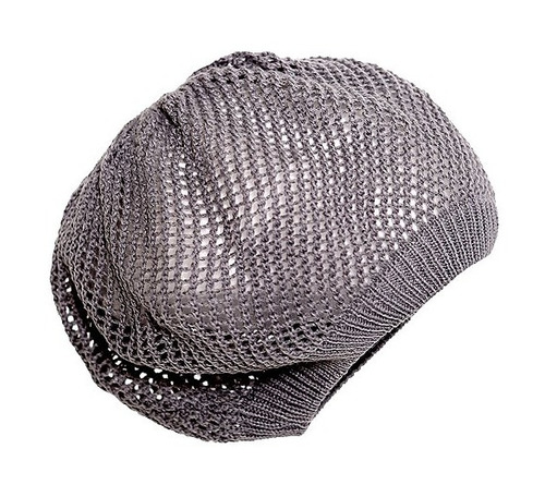 hot topic gorro gris grey net knit beret boina