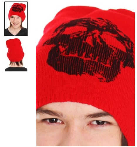 hot topic gorro red skull beanie
