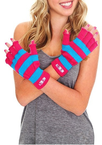 hot topic guantes all time low pink blue fingerless gloves