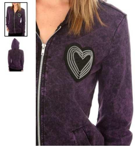 hot topic sudadera black purple wash heart zip hoodie median