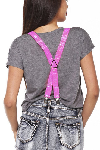 hot topic tirantes pink reflective black light suspenders