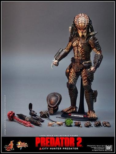 hot toys 1/6 predator 2 : city hunter predador 35 cm aprox.