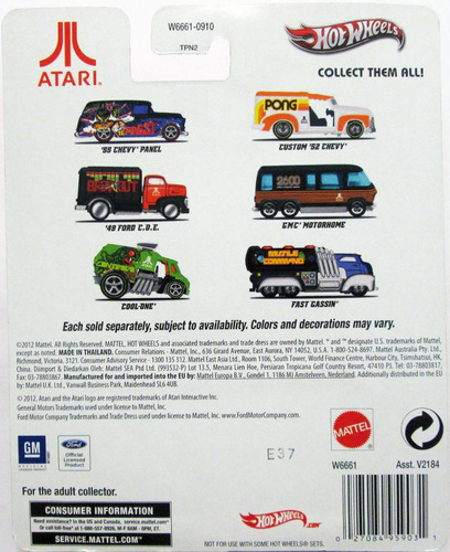 hot wheels 2013 atari - ruedas de goma - metal/metal, e:1/64