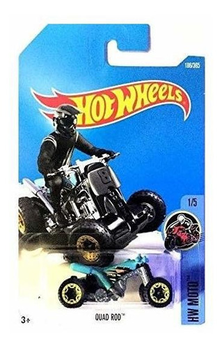 hot wheels 2017 hw moto quad rod (atv) 186/365, turquesa