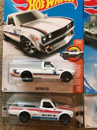 Hot Wheels 4 Set Datsun 620 Green Black White 2 Hw Hot Tr