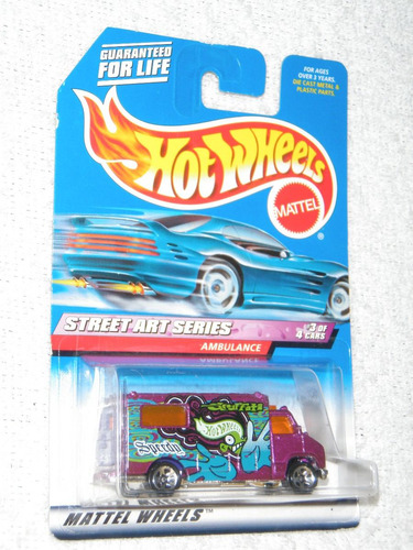 hot wheels ambulance, steet art series hecho en 1998