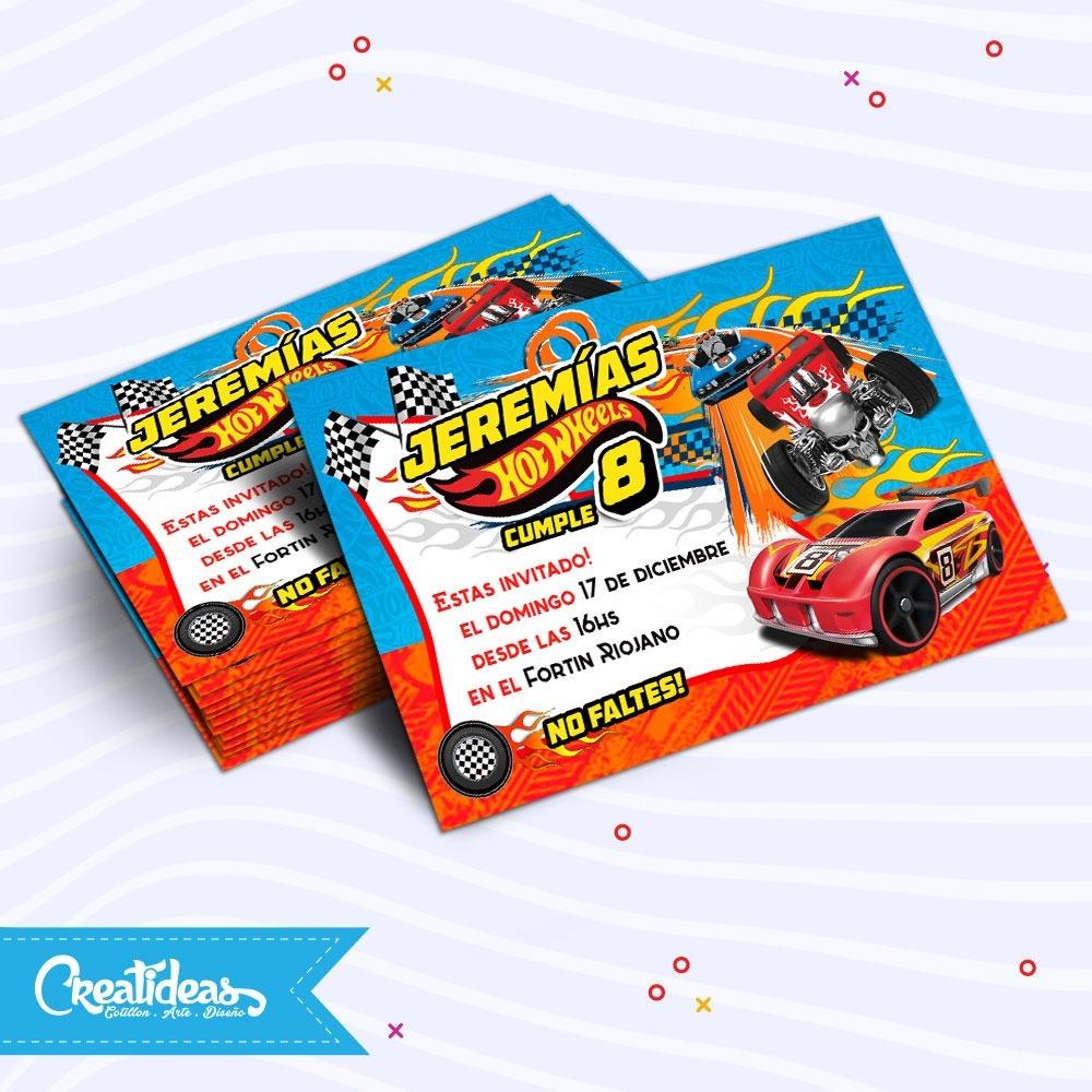 Hot Wheels Autos Tarjetas Invitaciones Personalizadas