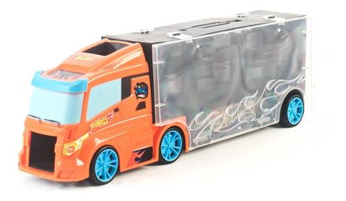 hot wheels camion porta vehiculos con 3 autos 40cm edu