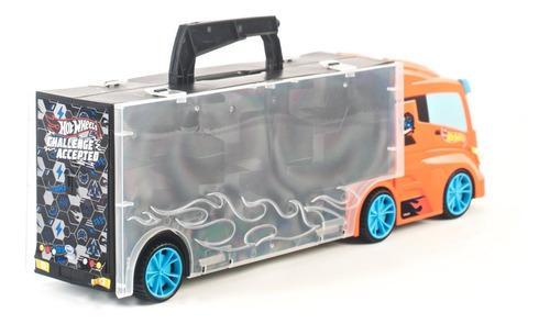 hot wheels camion porta vehiculos con 3 autos 40cm edu full