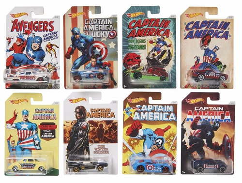 hot wheels - capitan america set 8 vehiculos mattel