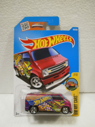 hot wheels custom camioneta 77 dodge van rosa 197/250 2016