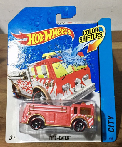 hot wheels- fire eater bomberos- cambia de color con agua
