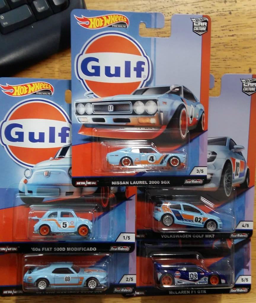 hot wheels gulf car culture golf mustang serie 5 pz fiat1. Black Bedroom Furniture Sets. Home Design Ideas
