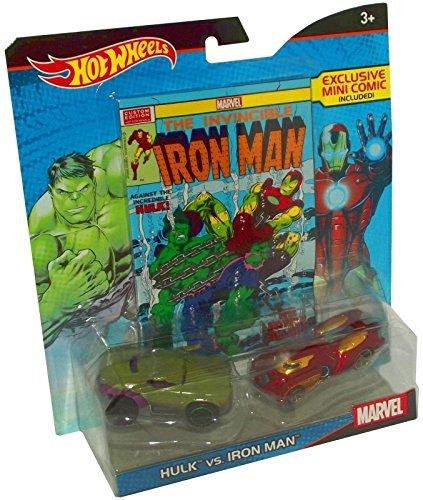 hot wheels marvel hulk contra iron man character car 2pack c