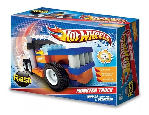 hot wheels monster truck original rasti 55 pzs, diverti toys