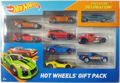 hot wheels paquete de 9 carritos, escala 1/64.