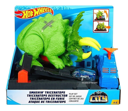 hot wheels pista ataque triceratops + vehiculo mattel orig