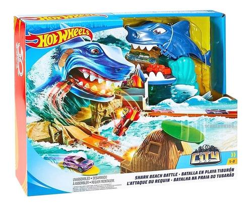 hot wheels pista batalla playa tiburon + vehiculo mattel ori