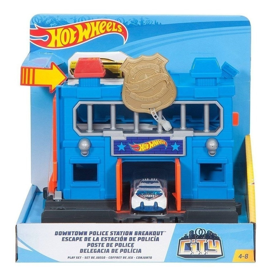 Policia De City Pista Escape Wheels Mattel Hot Estacion 8kZwN0PXOn