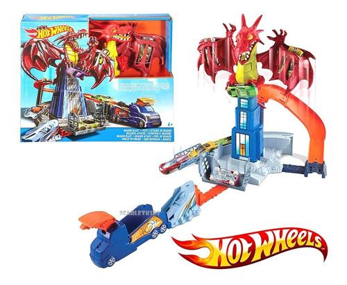 hot wheels pista dragon explosivo + vehiculo mattel original