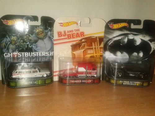 hot wheels retro ecto 1a,thunder roller,batmobile set 3