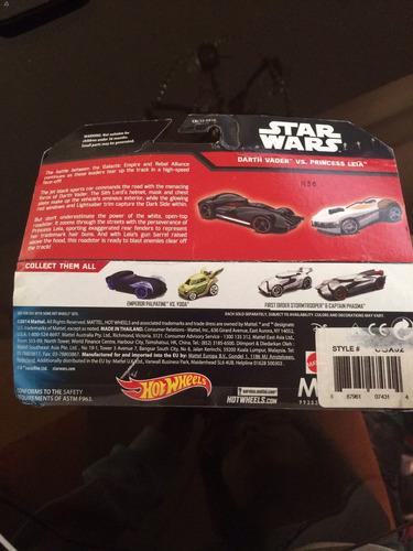 hot wheels star wars: darth vader y princesa leia