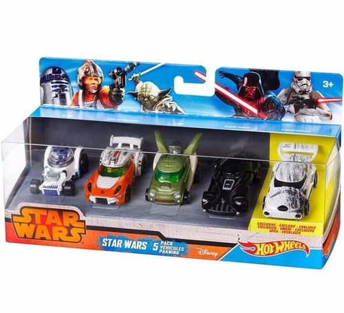 hot wheels star wars pack x 5 yoda - darth vader - luke