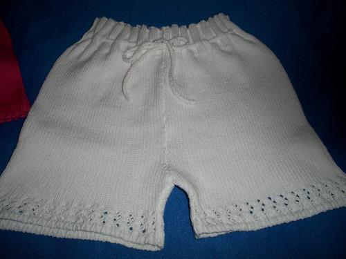 hots pants short hilo tejido a maquina niñas talle 2 y 4