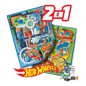 Hotwheels Alfombra Pista Reversible Hot Whells 2 Autitos