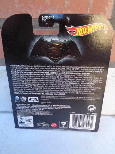hotwheels batimobil batman vs superman dc 1:64 justice orige