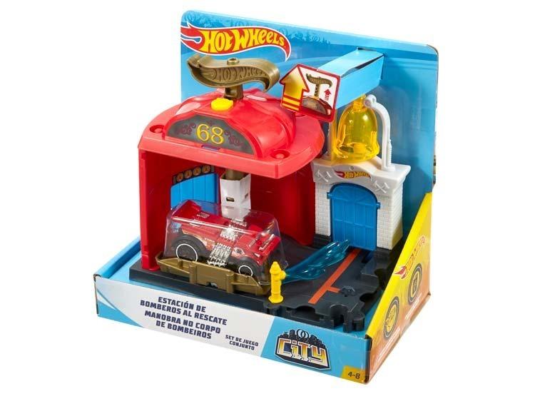 Hotwheels City Estacion De Bomberos Al Rescate Set De Juego 850