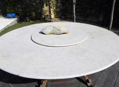 house garden mesa giratória granito e ferro p/ jardim 2,4m
