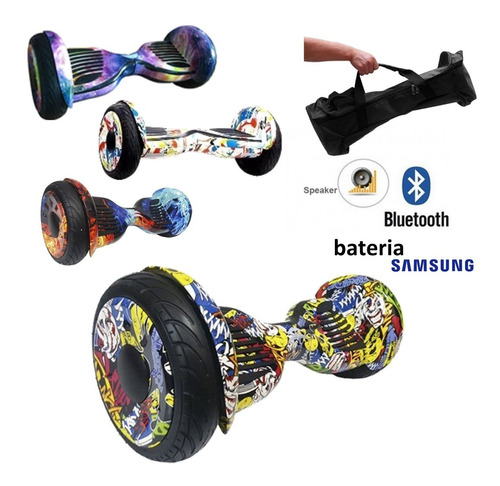 hoverboard skate elétrico 10 pol bluetooth led + bolsa