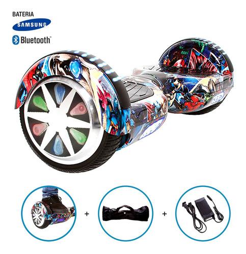 hoverboard skate elétrico roda 6,5  marvel avengers samsung