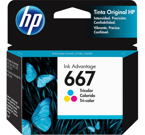 hp 667 tri-color ink cartridge 100 pages