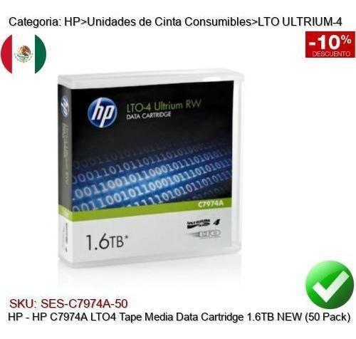 hp c7974a lto4 cinta respaldo tape cartridge 1.6tb (50 pack)