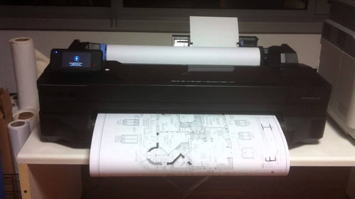 hp designjet t120+papel a1+ kit cartucho rellenable