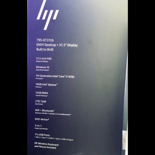 hp desktop envy 32 pol i7+8700 28 gb ram 2tb hd