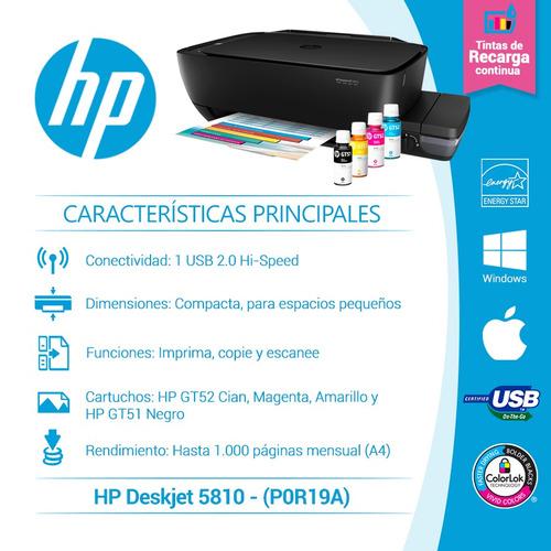 hp multifunciónal gt5810 + papel fotográfico 30 hojas +cable
